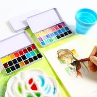 분할 수채화 계층화 된 안료 포장 안료 세트 캔디 색상 24 색 1ml 작은 철 상자 시험 예술 용품