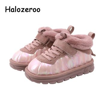 Nowe buty zimowe dla dzieci buty dla dzieci dziewczyny kostki buty dziecięce ciepłe marka buty chłopców buty czarne buty buty casual buty z prawdziwej skóry tanie i dobre opinie Halozeroo 19-24 M 2-3Y 10-12Y Wiosna jesień Buty śniegu Patch Mieszkanie z Pluszowe Unisex ANKLE Pasuje prawda na wymiar weź swój normalny rozmiar