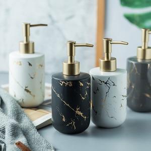 Image 1 - Marble pattern Ceremic Dispenser Nordic bathroom hand sanitizer bottle shower gel bottle bathroom ceramic hand sanitizer bottle