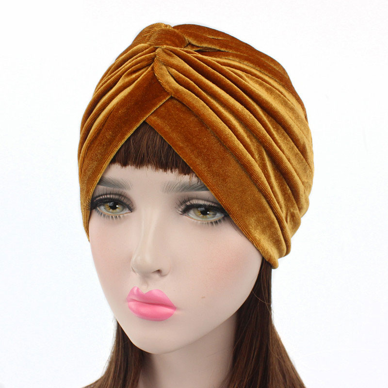 Muslim Stretch Velvet Cross Twist Turban Hat Women Chemo Cap Headwrap Hair Accessories Solid Color Turban Headscarf Hot Sale