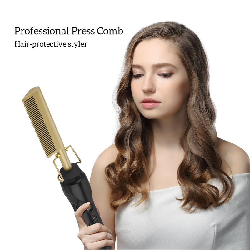 Image 2 - Hair Brush Comb Straightener Electric High Heat Press Comb Hot Straightening Curling Iron Fine Brass Teeth Hair Styling Tool 38-in Combs from Beauty & Health