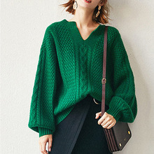 Retro Emerald Loose Pullover Lantern Sleeve Sweater Small V-collar Wool Knitted 2019 Pullovers O-Neck Women