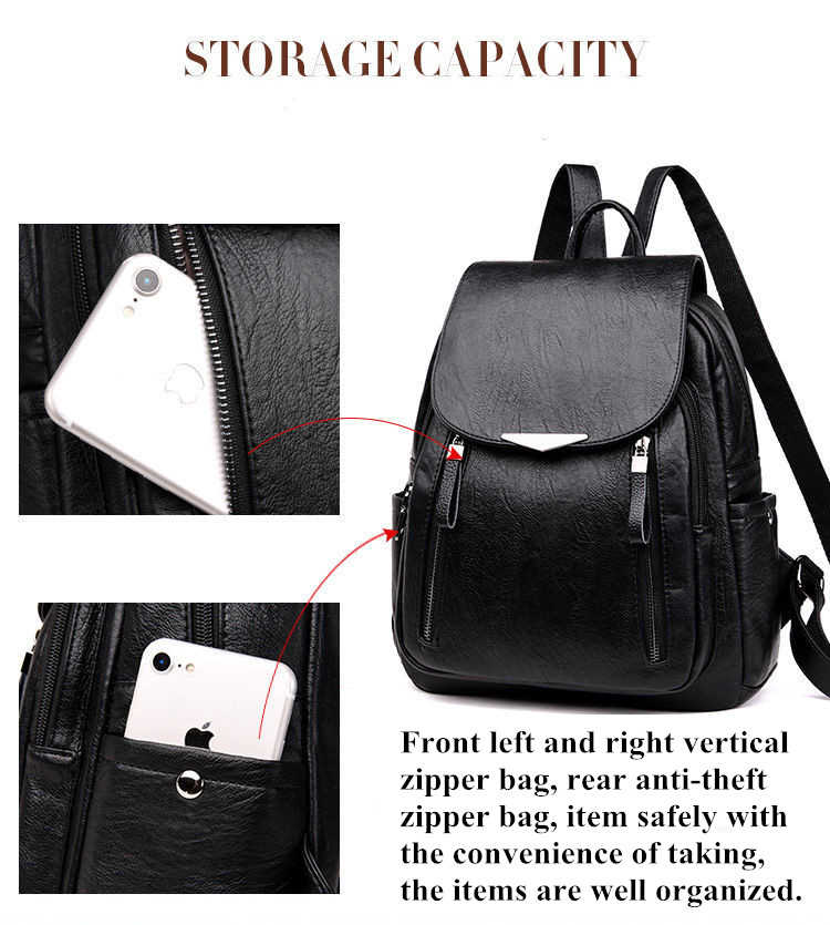 H1723112cceca4f4b8de31d7a82b29c1dw - Women Backpack PU Female backpacks Vintage Leather School Bags Large Capacity School Bag for Girls Double Zipper Shoulder Bags