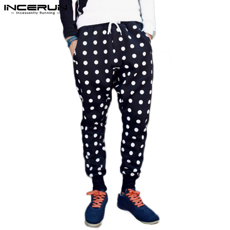 Men Harem Pants Polka Dot Print Elastic Waist High Street Stylish Joggers Casual Workout Trousers Men Sweatpants INCERUN S-3XL 7
