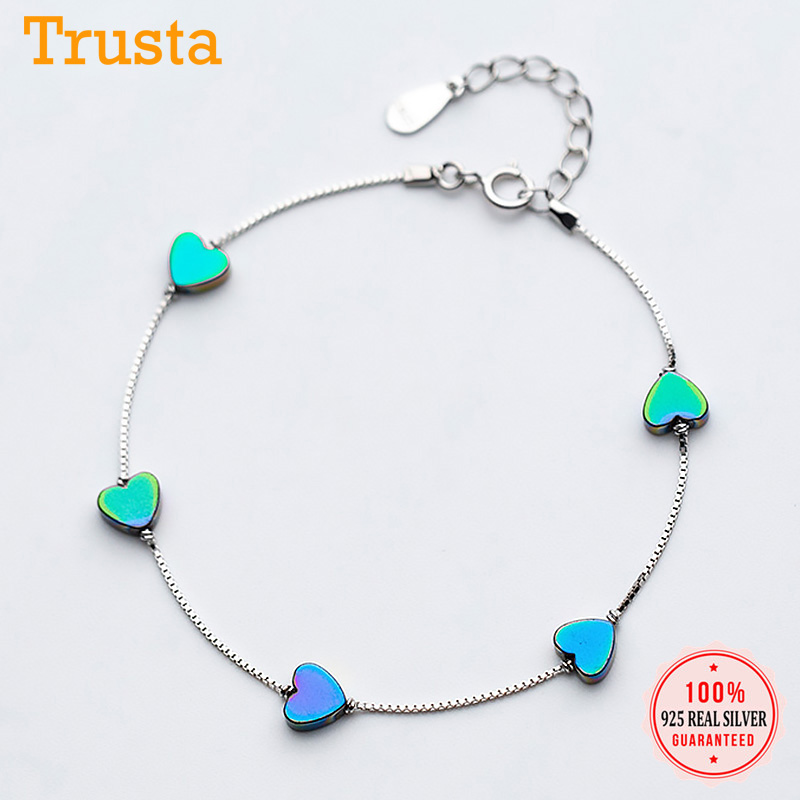 Trustdavis Real 925 Sterling Silver Fashion Romantic Heart Love Chain Bracelet For Women Wedding Party Fine S925 Jewelry DA1577