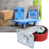 4 Pcs Caster Without Brake PU Cast Iron Wheel 300kg Single Load Capacity for Multiple Purpose Trolley Wheel
