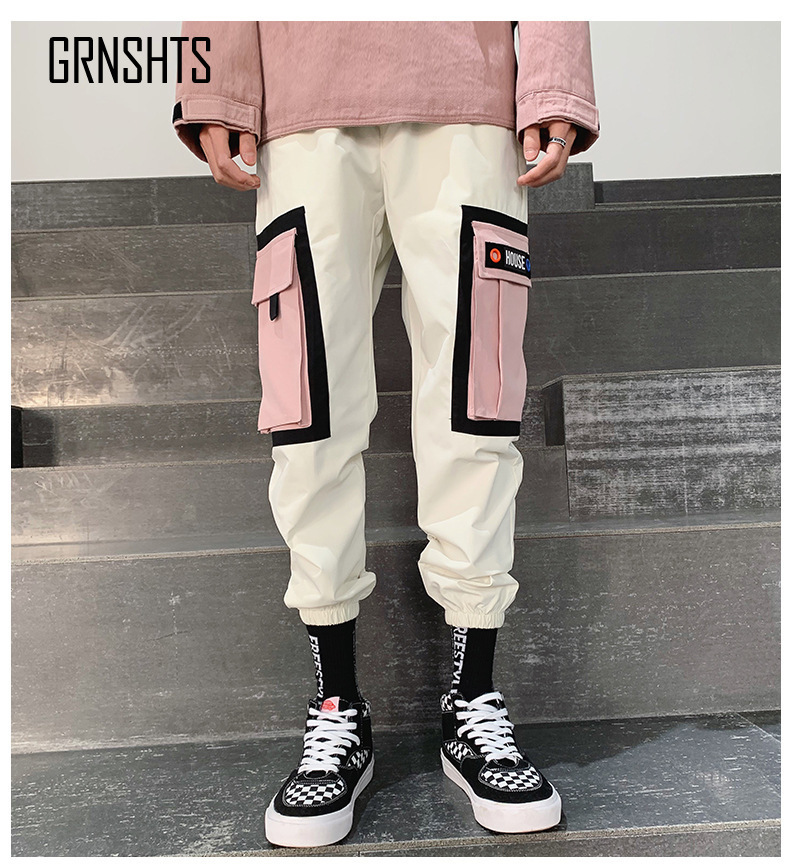 Streetwear Yellow Plaid Pants Men Joggers 2019 Man Casual Straight Harem Pants Men Korean Hip Hop Track Pants Plus Size