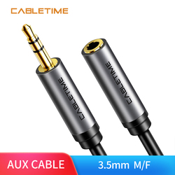 Cabletime 3.5 mm Jack Headphone Upgrad Grey Audio Cable Aux Extension Cable M/F for Xiaomi Huawei P20 Amplifier N226