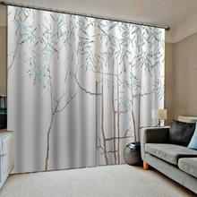 simple bamboo curtains for bedroom  3D Curtain Luxury Blackout Window Living Room