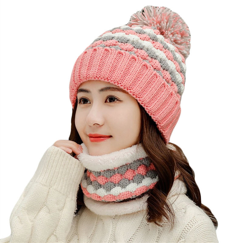 Female Winter Warm Knitted Hat With Scarf Set Fleece Thick Hats Beanies For Women Girls Outdoor Sport Plus Velvet Scarf Hat Sets