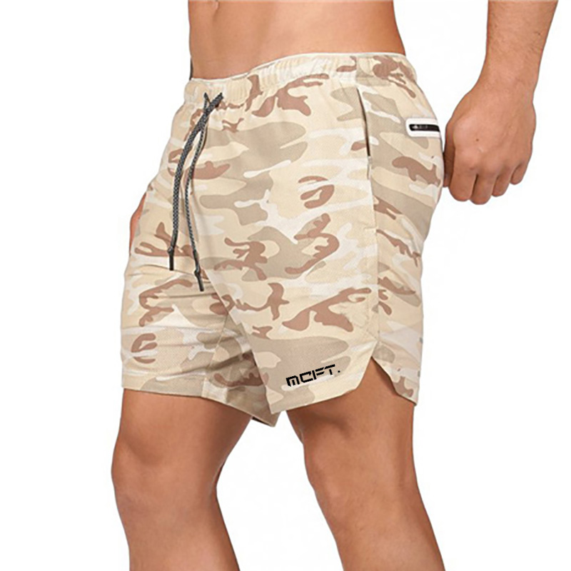 Men's Camouflage Mesh 2 In 1 Jogger Gyms Shorts Men Sportswear Fitness Shorts Quick Dry Exercise Shorts Built-in Security Pocket