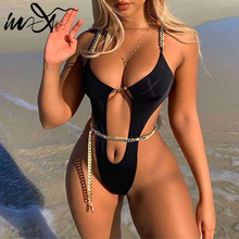 Chain Swimsuit Women Monokini Backless One-Piece Sexy In-X Hollow-Out