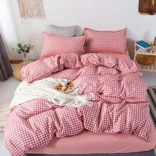 -Estilo japonês Conjuntos de Cama, 210 × 210 Quilt cover, xadrez rosa Duvet Cover Fronha 3pcs 240 × 210/220 × 240, Cobertor tampa de cama King Size