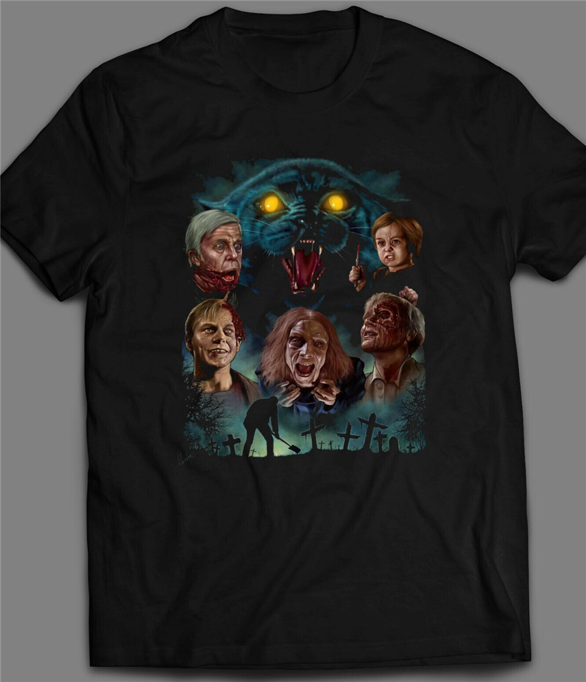 Horror Movie <font><b>Pet</b></font> <font><b>Sematary</b></font> <font><b>Poster</b></font> Oldskool T-Shirt Many Sizes Apparel Casual  Tee Shirt image