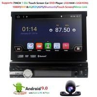 Single 1 Din 7 Android 9.0 GPS Flip Car Stereo Radio Player Touch Screen USB SD 2GRAM 4GWIFI BT SWC RDS DVR DAB DVBT MirrorLink