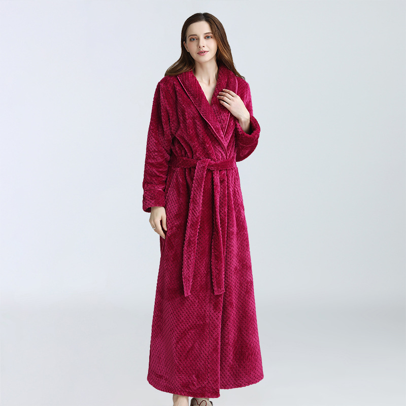 Women Extra Long Warm Dobby Coral Fleece Bath robe Winter Thicken Flannel Thermal Bath Robe Kimono Dressing Gown Bride Peignoir