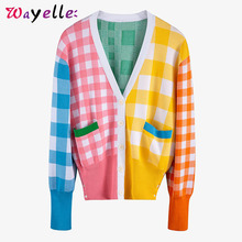 Open Stitch Sweaters Womens 2019 Fall Colorful Plaid Pocket Green Knitting Fit Chic V-Neck Long Sleeve Women Tops