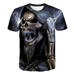 2020 Men's 3d Printed Skull Series Casual T-shirt Men And Women Fashion Wild 3dt Shirt Short-sleeved Shirt T-shirt Black Top