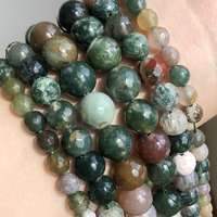 Großhandel naturstein perlen Facettiert Indische Achate Runde Perlen Für Schmuck machen 15 zoll 4 6 8 10 12 14mm Pick Größe