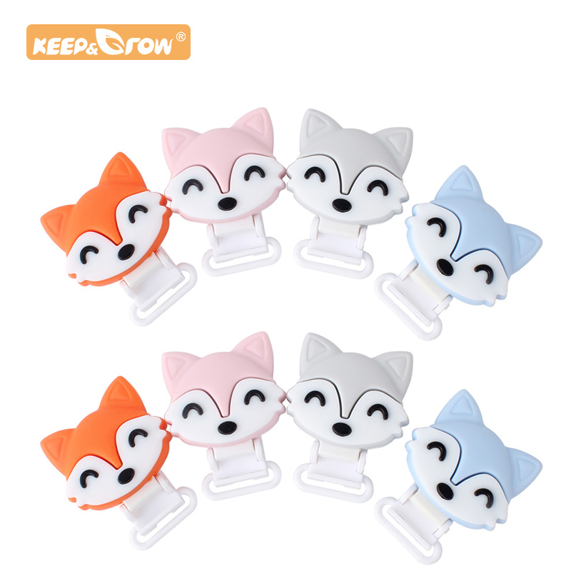 Keep&Grow 1pc Fox Silicone Baby Pacifier Clips Solid Color Holders Infant Soother Clasps Baby Chew Dummy Chain Adapter Toys