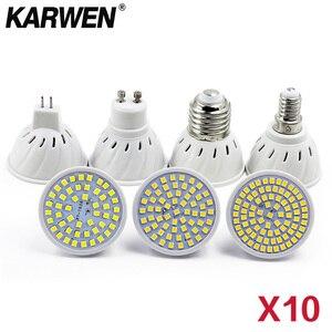 Image 1 - 10Pcs/Lot Lampada LED Bulb MR16 GU10 E27 E14 Bombillas LED Lamp 220V 240V 2835 SMD 48 60 80 LED Spotlight  Indoor Lightint