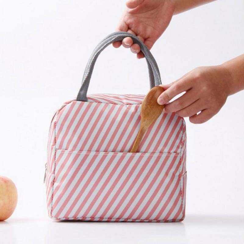 Leisure Women Portable Lunch Bag Canvas Stripe Insulated Cooler Bags Thermal Food Picnic Lunch Kids Lunch Box Tote picnic bolsas