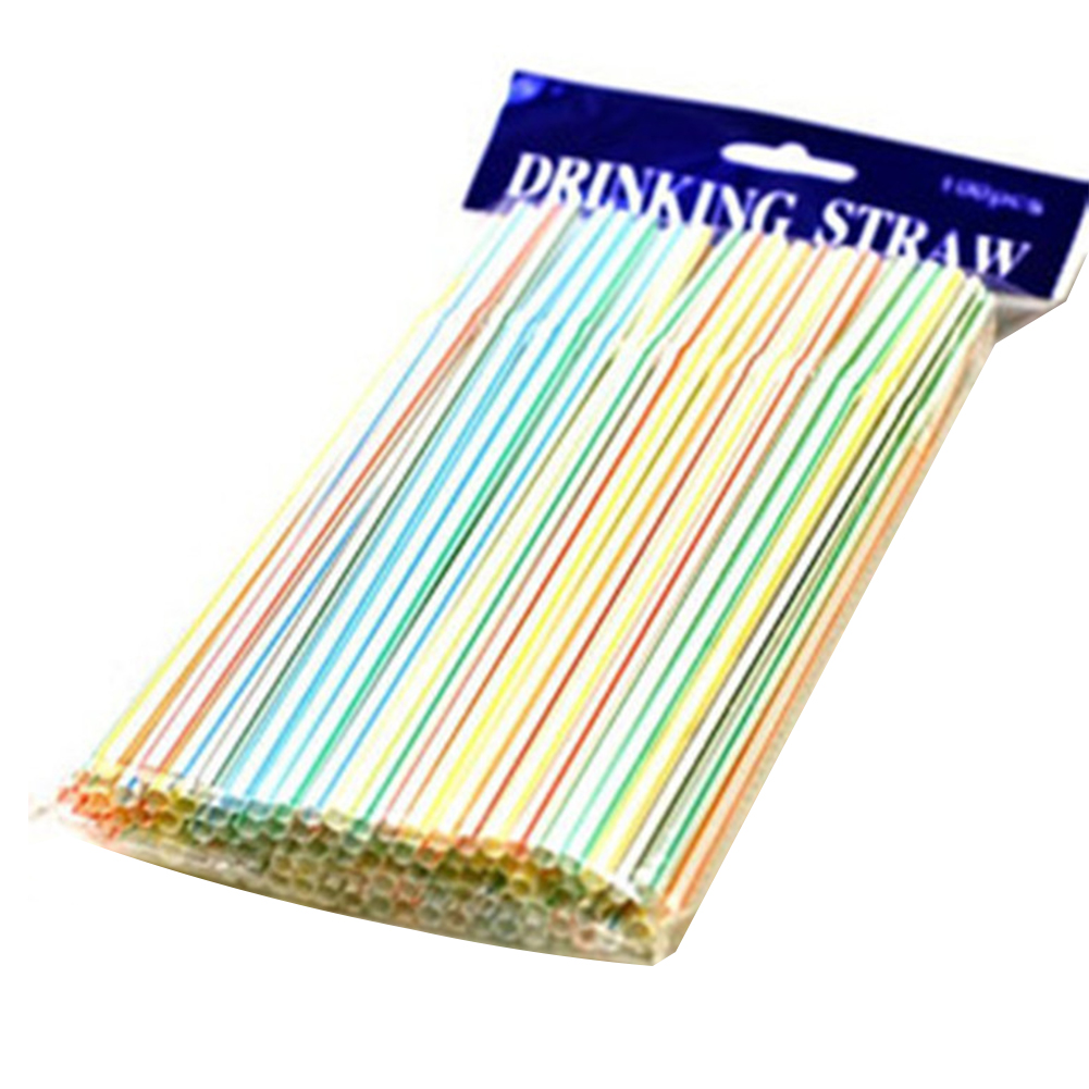 500pcs Colored Drinking Straw Accessories Birthday Wedding Non Toxic Celebration Disposable Bendable Restaurant Party PP