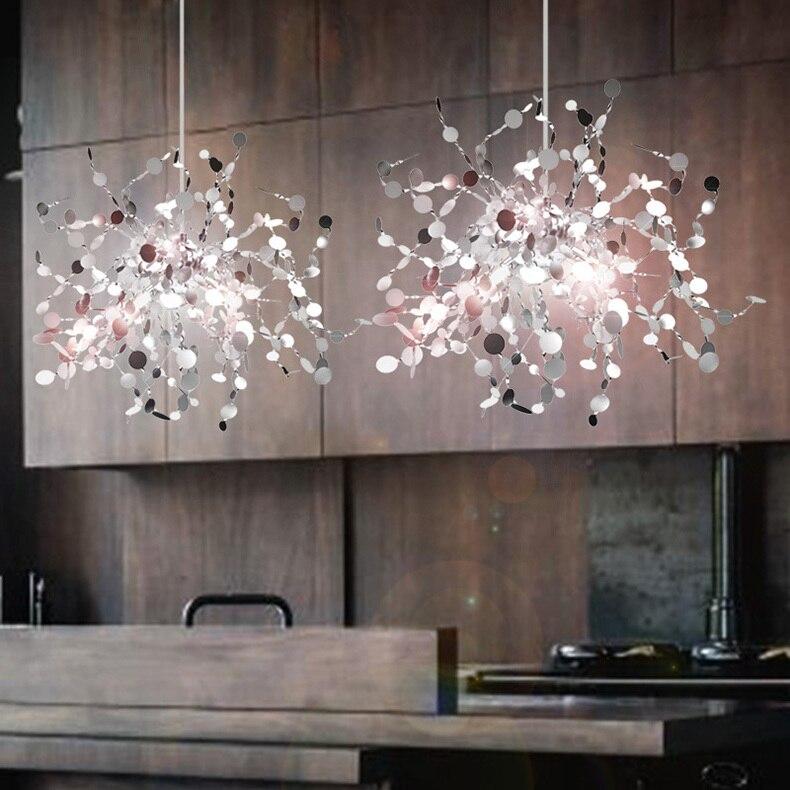 Terzani Argent Lighting Hand Made Stainless Steel Leaf Chandelier Lamp For Living Room/bedroom Home Deor Lighting Celier