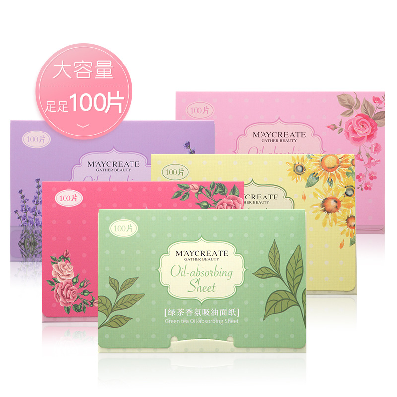 100pcs Facial Oil Blotting Sheets Paper Green Tea Cleansing Face Oil Control Absorbent Paper Beauty Makeup Tissue Paper Tools