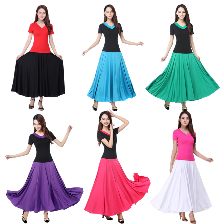 Woman Flamenco Festival Dance Costumes Female Belly Stage Performance Skirt 7colors Solid Flamengo Ballet Ballroom Costumes