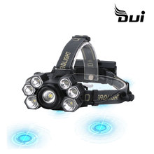 DUI New 7LED T6+XPE powerful USB rechargeable led fishing headlamp dui xml t6 powerful usb recharged 3t6 outdoor aircraft led flashlight headlamp