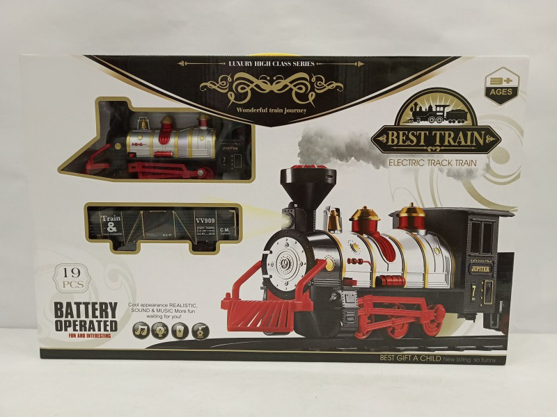 Electric Classical Rail Train Set CHILDREN'S Toy Light Sound Smoke Model Retro Small Train Model