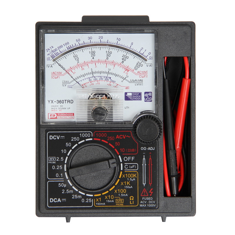 YX360 YX-360TRE-L-B Pointer Multimeter Analog Meter With  AC DC Volt Ohm Current Testing Electrical Multi Tester