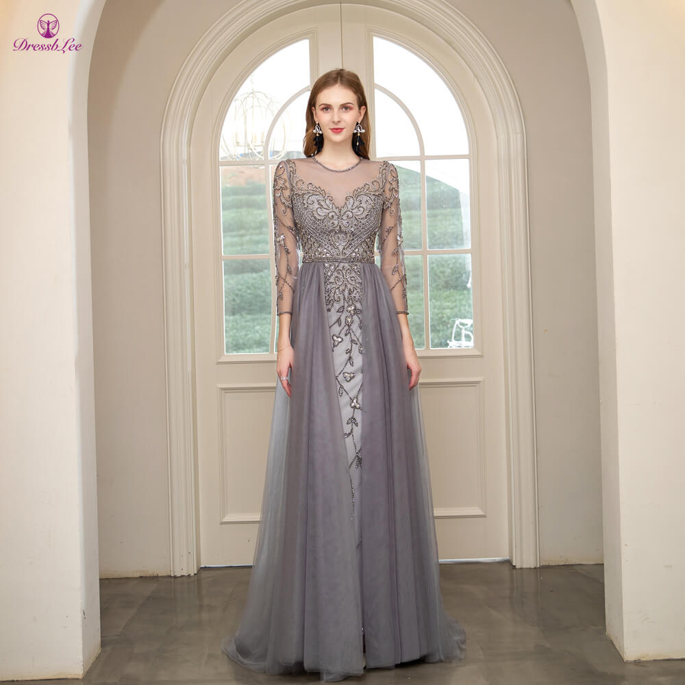 DressbLee Dubai Prom Dresses Crystal Pearl Beaded Sparkly Long Prom Dress Full Sleeves Transparent Formal Party Gowns