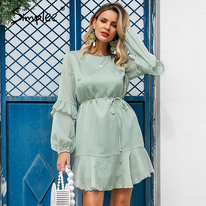 Simplee Women Summer Chiffon Short Dress Female Lantern Sleeve Sash Ruffle Green Dress Party Mini Dress Casual Holiday Vestidos
