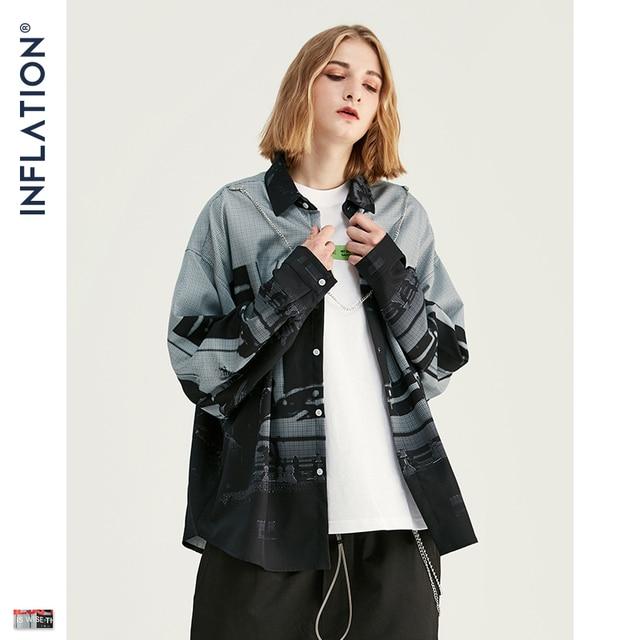INFLAITON 2019 FW Novos Homens Camisa Harajuku Hip Hop Men Manga Comprida Camisas de Impressão Digital Solto Fit Camisa Homens Casuais marca 92139W