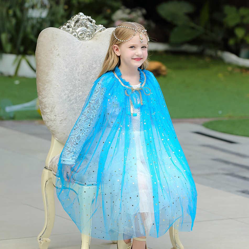 ילדה נסיכת מסיבת תלבושות שרוך נצנצים טול קייפ גלימת ליל כל הקדושים להתלבש מעטפת נסיכת אלזה יסמין סופיה סגול