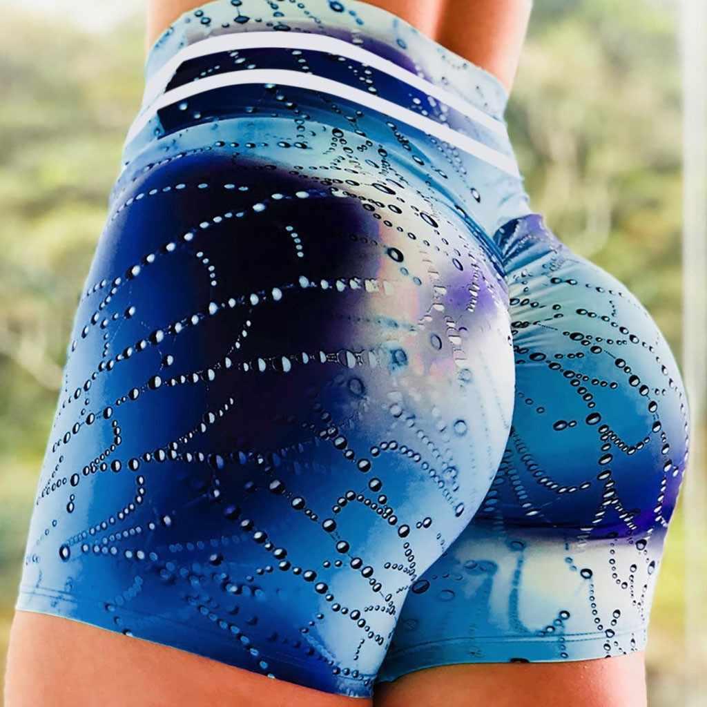 ควบคุม Tummy Push Up กีฬากางเกงขาสั้นเด็กสะโพกผู้หญิง 3D พิมพ์ Quick-DRY ผอมสูงเอวกางเกงขาสั้นกางเกงขาสั้นโยคะ