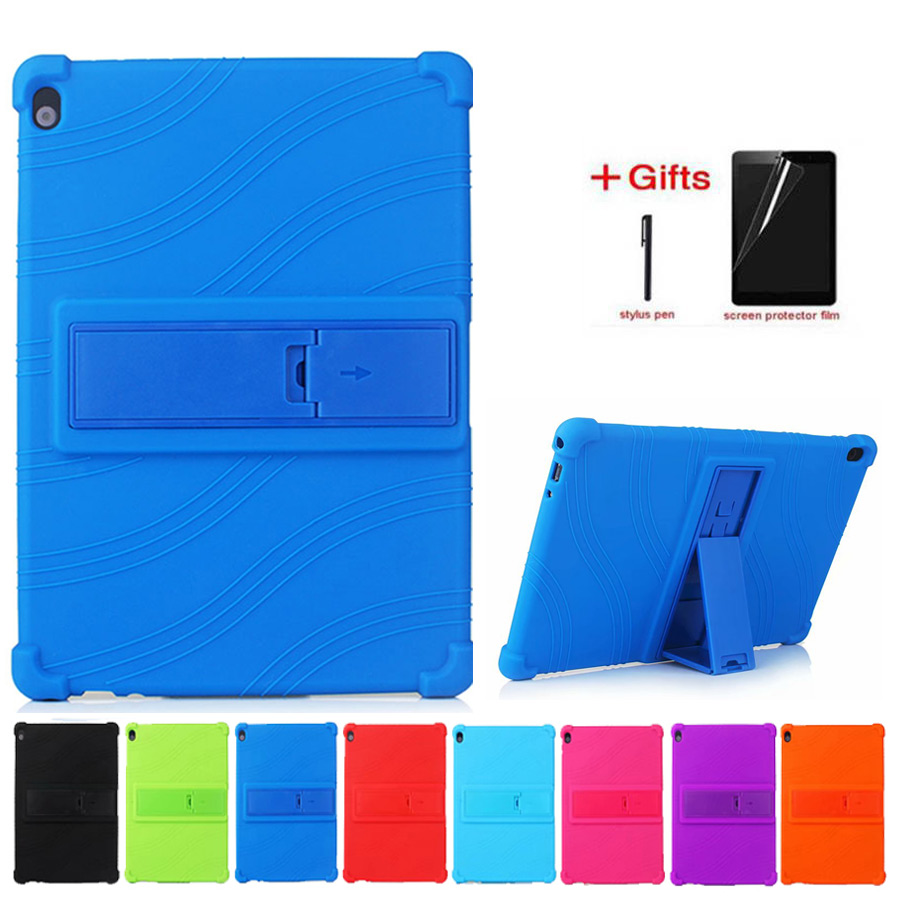 Soft Silicon Case For Lenovo Tab M10 TB-X605F TB-X605L Tab P10 TB-X705F TB-X705L 10.1 Inch Tablet PC Protective Case+Film+Pen