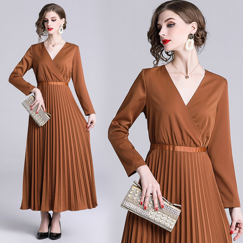 2019 Early Spring New Products WOMEN'S Dress Big Brand Catwalks-Style V-neck Long Sleeve Slim Fit Pleated Versatile Long Skirts