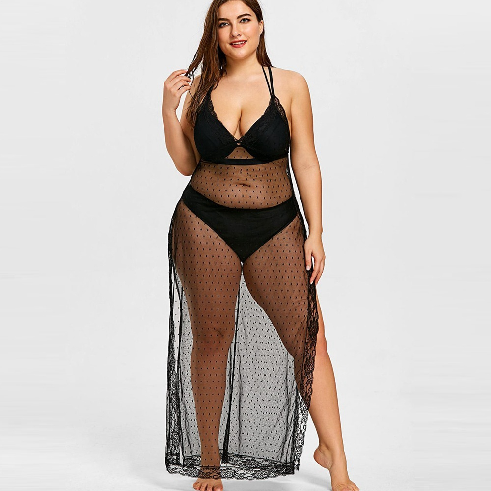 XL-5XL Plus Size Women Beach Dress See Throgh Beach Cover Up Lace Bathing Suit Cover Ups Pareos De Playa Mujer Lingerie Cover Up