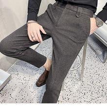 Мужские классические брюки Новинка осени 2020 облегающие однотонные
