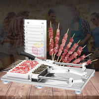 Manual Satay Skewer Machine BBQ Stainless Steel Mutton Kebab Lamb Skewer Tools Doner Kebab Meat Wear String Machine