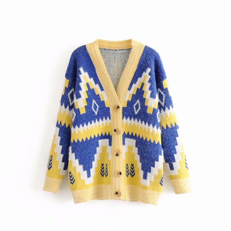 Autumn Knitted Women Sweater Jumper Print Loose Long Sleeve Sweater Cardigans Pull Femme
