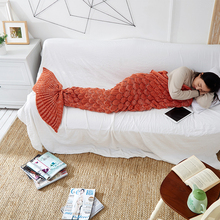 купить Soft Knitted Mermaid Tail Blanket Crochet Mermaid Blanket For Adult Super Soft All Seasons Sleeping Knitted Blankets дешево