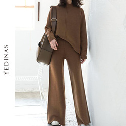 Yedinas Korean Womens Tracksuit Set knitted Warm Two Piece Set Top And Pants 2020 Winter Casual 2 Piece Sets Womens Outfits knit