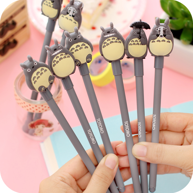 4pcs Cartoon Totoro Pen Ballpoint 0.5mm Black Color Gel Ink Pens For Writing Kids Gift Stationery Office School Supplies A6822