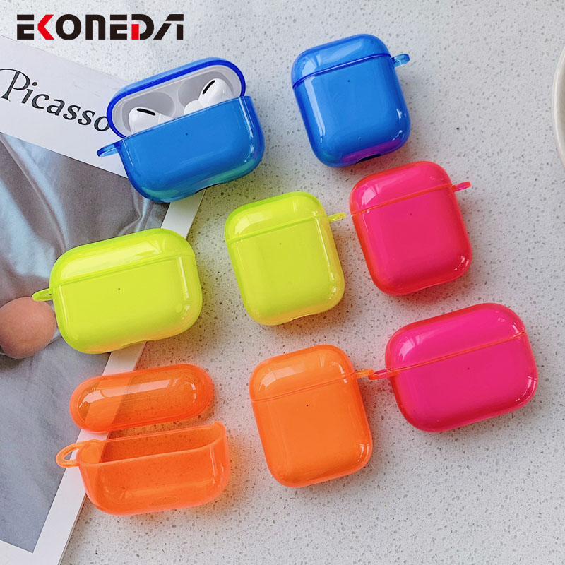 EKONEDA Bright Fluorescence Color Case For Airpods Case Silicone Soft Protective Earphone Shell For Airpod 2 Case Cover