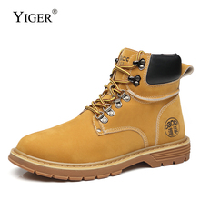 YIGER New Men martins boots man casual lace-up leather autumn male tooling shoes Retro high-top winter mens 0379