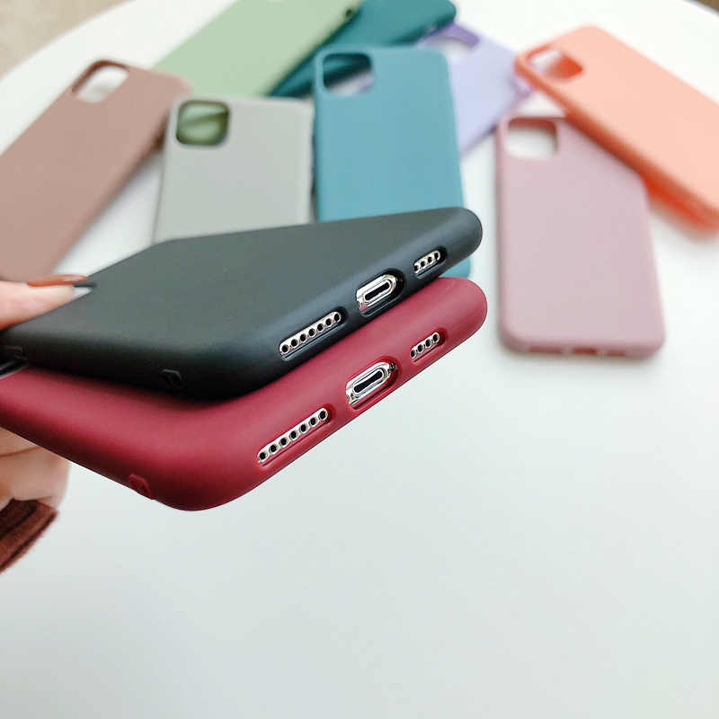 N1986N טלפון מקרה עבור iPhone 11 11 פרו מקסימום X XR XS מקסימום 6 6s 7 8 בתוספת אופנה צבעים בוהקים פשוט מוצק צבע רך סיליקון Case